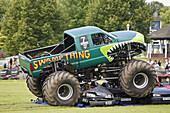 Monster truck crushing cars