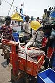 Betim Goa, India, fishermen weighing fish at the harbour