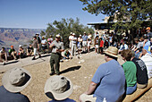 The Grand Canyon Arizona, a ranger giving a lesson on ecology to tourists