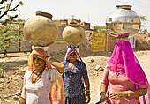 Women Carrying Water Vessels, Ajmer Region, Rajasthan, India