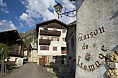 Streets and traditional houses of Lillaz, in the Gran Paradiso National Park, in the Italian Alps. Italy. Europe.