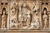 Detail of the frieze in the church of San Juan Bautista. Moarves de Ojeda. Palencia. Castilla y Leon. Spain.