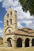 Romanesque church or Collegiate of San Salvador de Cantamuda, belonging to the municipality of La Pernía, in the Parque Natural de Fuentes Carrionas y Fuente de Cobre, in Palencia, Castilla y León, Spain, Europe.