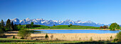 Panorama of Allgaeu Alps with mountain lake, Allgaeu, Swabia, Bavaria, Germany
