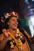 Cheerful polynesian dancer on board of MV Columbus, Aitutaki, Cook Islands, South Pacific, Oceania