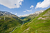 Mountain scenery with snowfields, Canton of Valais, Switzerland