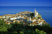 View at the Old Town of Piran at the coast, Adriatic Sea, Istria, Slovenia, Europe