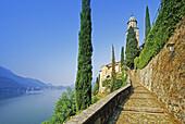 Zypressen am Weg zur Kirche von Morcote, Blick zum Lago di Lugano, Tessin, Schweiz, Europa