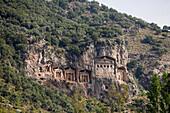 Lycian Cliff Tombs at a mountainside, Dalyan, Turkey, Europe