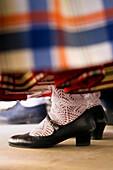 Detail of woman in traditional costume, Villena. Alicante province, Comunidad Valenciana, Spain