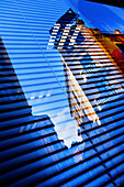 Mirror image of building, Alcoy. Alicante province, Comunidad Valenciana, Spain