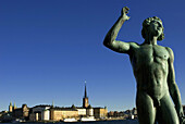 Boat, Boats, Bronze, Cities, City, Cold, Coldness, Color, Colour, Daytime, Detail, Details, Europe, Exterior, Gamla Stan, Island, Islands, Old Town, Outdoor, Outdoors, Outside, Sculpture, Sculptures, Sea, Statue, Statues, Stockholm, Sweden, Vessel, Vessel