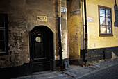 Aged, Cities, City, Color, Colour, Daytime, Door, Doors, Europe, Exterior, Facade, Façade, Facades, Façades, Neglected, Nobody, Number, Numbers, Old, Outdoor, Outdoors, Outside, Stockholm, Street, Streets, Sweden, V07-702647, agefotostock