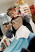 New York, USA, Chinatown, barber shop.