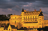 Palace of Amboise at sunset, built in the 15 th. century  in Renaissance style, on the list of World Cultural Heritage sites of UNESCO, Indre et Loire, France