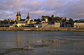 The Loire river at Blois, the church Saint-Nicolas (left) and the palace of Blois (right), on the list of World Cultural Heritage sites of UNESCO, Loir et Cher province, France