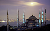 Moon rising on the blue mosquee, Istanbul, Turkey