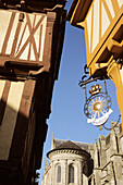 Half timbered houses and iron sign, Vannes, Morbihan, France