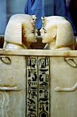 Alabaster canopic jars, Cairo museum, Cairo, Egypt