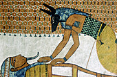Paintings in the tomb of Sennedjem, in the Noble's valley, Luxor, Egypt