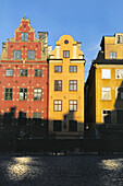 Main square of Stortorget, rich trader houses from 17 th. and 18 th. centuries, Stadsholmen area, old town (Gamla Stan), Stockholm, Sweden