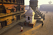The durbar square, restored from 1978 to 1986, the former royal city of Bhaktapur, valley of Kathmandu, Nepal