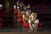 Girls at training in a Classic Khmer dance school (Apsara dance), Phnom Penh, Cambodia
