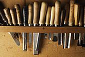 Chisels and gouges in luthier Fernando Solar Garcias workshop, Madrid, Spain