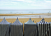 Sunshades and beach  Zarauz  Guipúzcoa province  Basque Country  Spain