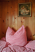 Checked bedclothes, bedding inside an alpine hut, Sleep, Mountain, Alps