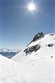 Mountain landscape in Winter, Mountain range, Snow, Ski slope, Winter, Crans Montana, Switzerland