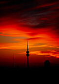 Communication tower in the afterglow, Munich, Bavaria, Germany, Europe