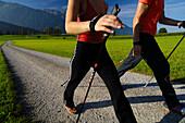 A couple nordic walking, Tyrol, Austria, Europe