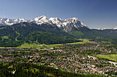 Aerial view of Garmisch-Partenkirchen and Wetterstein mountains, Bavaria, Germany, Europe