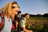 Young family hiking in an idyllic landscape, Franconian Switzerland, Bavaria, Germany, Europe