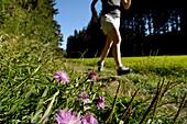 Woman jogging on a meadow in the sunlight, Franconian Switzerland, Bavaria, Germany, Europe