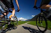 Couple on a mountain bike tour near Imst, Tyrol, Austria