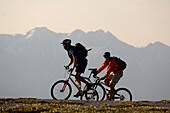 Two people on a mountain bike tour near Blaser, near Steinach am Brenner, Wipptal, Tyrol, Austria