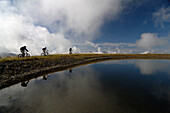 Mountainbike tour in the Nockberg Mountains, Woellaner Nock, 2048m, near Bad Kleinkirchheim, Carinthia, Austria, Europe