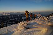 Women on a ski tour at Hochgrat, Allgäu Alps, Bavaria, Germany, Europe