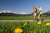 Couple hiking at Tonihof, Mittenwald, Karwendel Mountain Range, Upper Bavaria, Bavaria, Germany, Europe