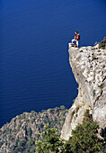 Woman looking at view, Lycian Coast, Turkey