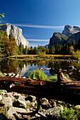 Idyllic landscape with stream in the sunlight, Yosemite National Park, California, North America, America