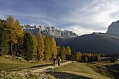 Mature couple mountain hiking, Dolomite Alps, Sëlva, Trentino-Alto Adige/Südtirol, Italy