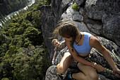 Two woman climbing, Yosemite National Park, California, USA