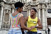 Young couples dancing salsa, Plaza de la Catedral, La Habana Vieja, Havana, Ciudad de La Habana, Cuba, West Indies