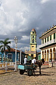 Horse-drawn vehicle on Plaza Mayor, Trinidad, Sancti Spiritus, Cuba, West Indies