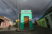 Cyclist in Narrow Street, Camaguey, Camaguey, Cuba, West Indies