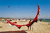 Kitesurf in Valdevaqueros beach, Tarifa. Cadiz province, Andalucia, Spain