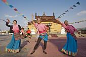 China -April 2008. Beijin City. Chinese Ethnic Culture Park. Tibet Dancers
